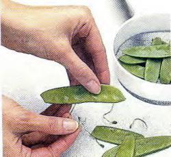 Как удалить у стручкового горошка жилку