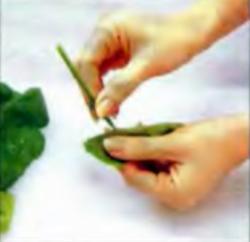 Шаг 2. Удаление стебельков из листьев
